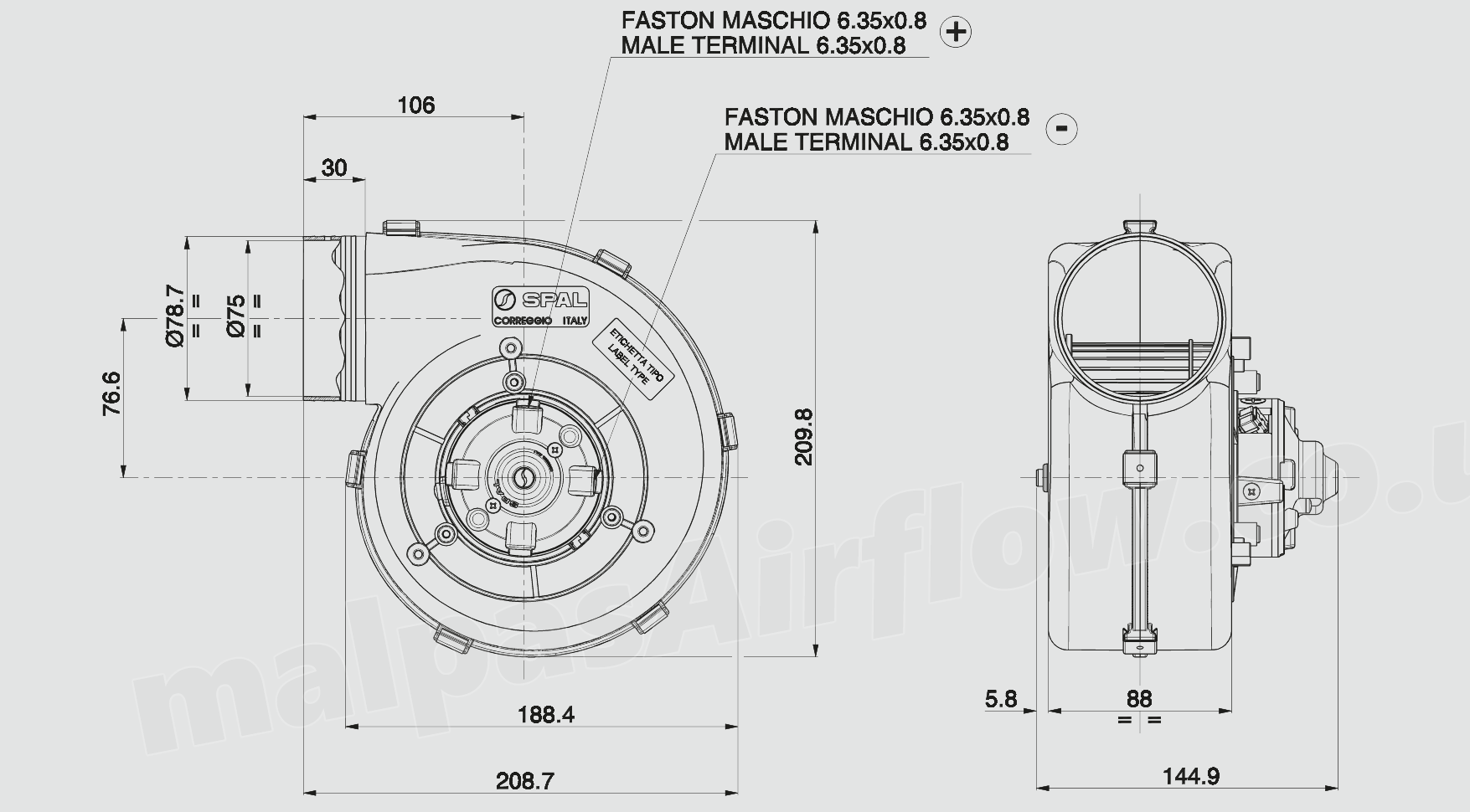 30001023 Spal 348 Cfm Single Blower 001 A39 49d 12v Speed 106 Wiring Diagram Fans Dimensions Of