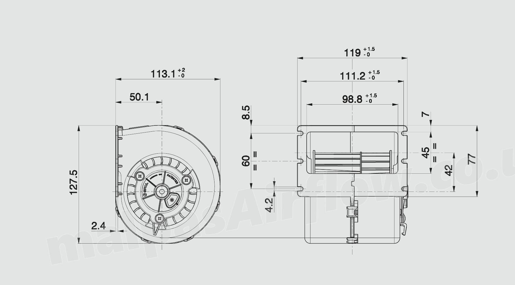 30003166 SPAL 153 cfm Single Blower 008   A100   93D  12v  3