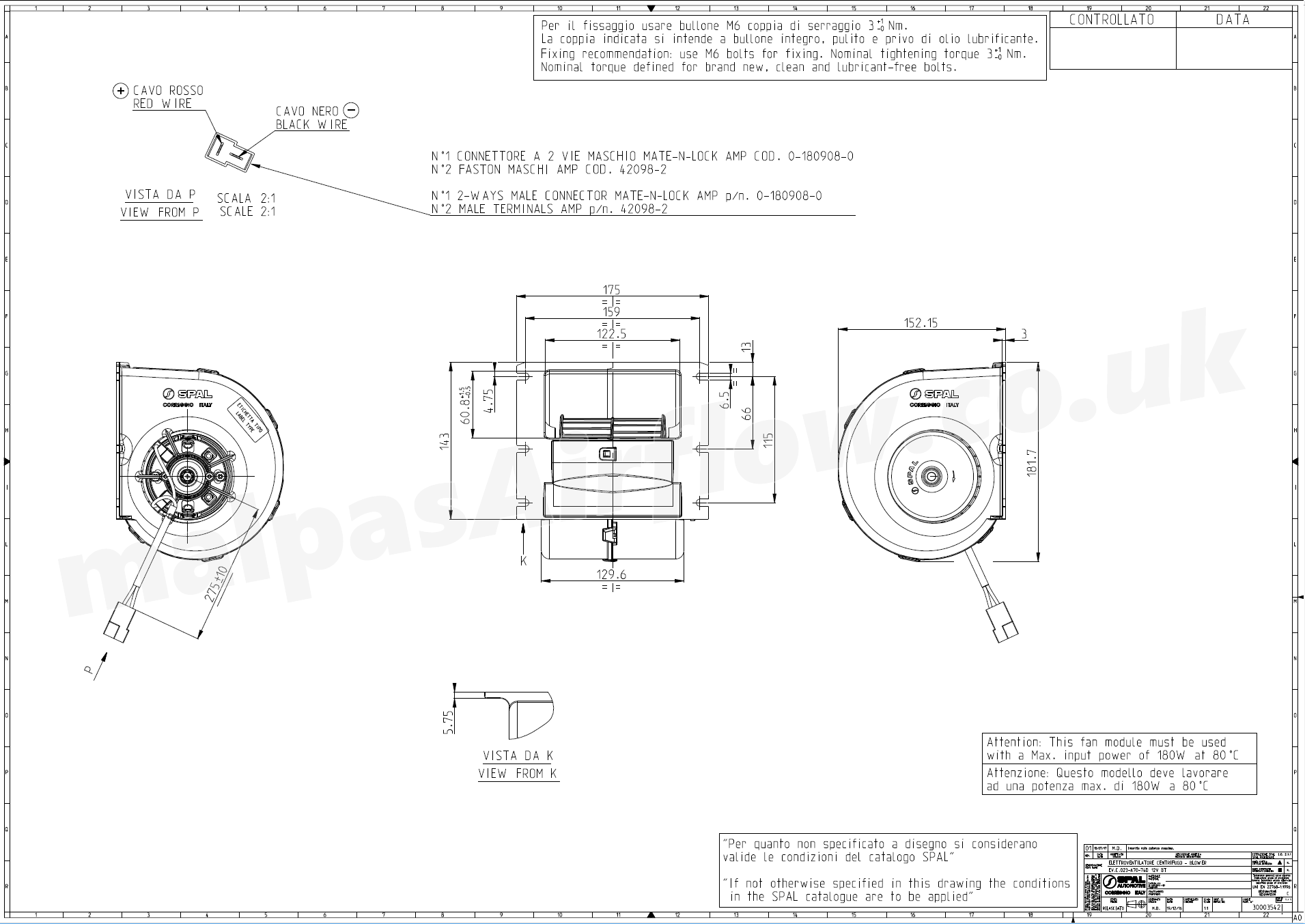 Dimensions of SPAL 338 cfm Single Blower 023-A70-74D (12v) (Single Speed)