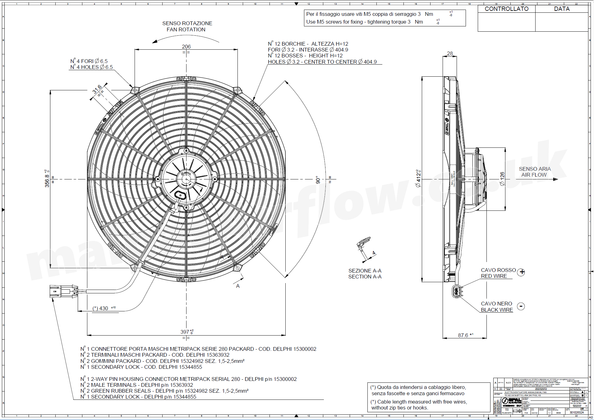 30102632a Spal 16 407mm Cooling Fan Va18 Bp71 Ll 59a 24v 2289 10 Wiring Diagram Fans Dimensions Of