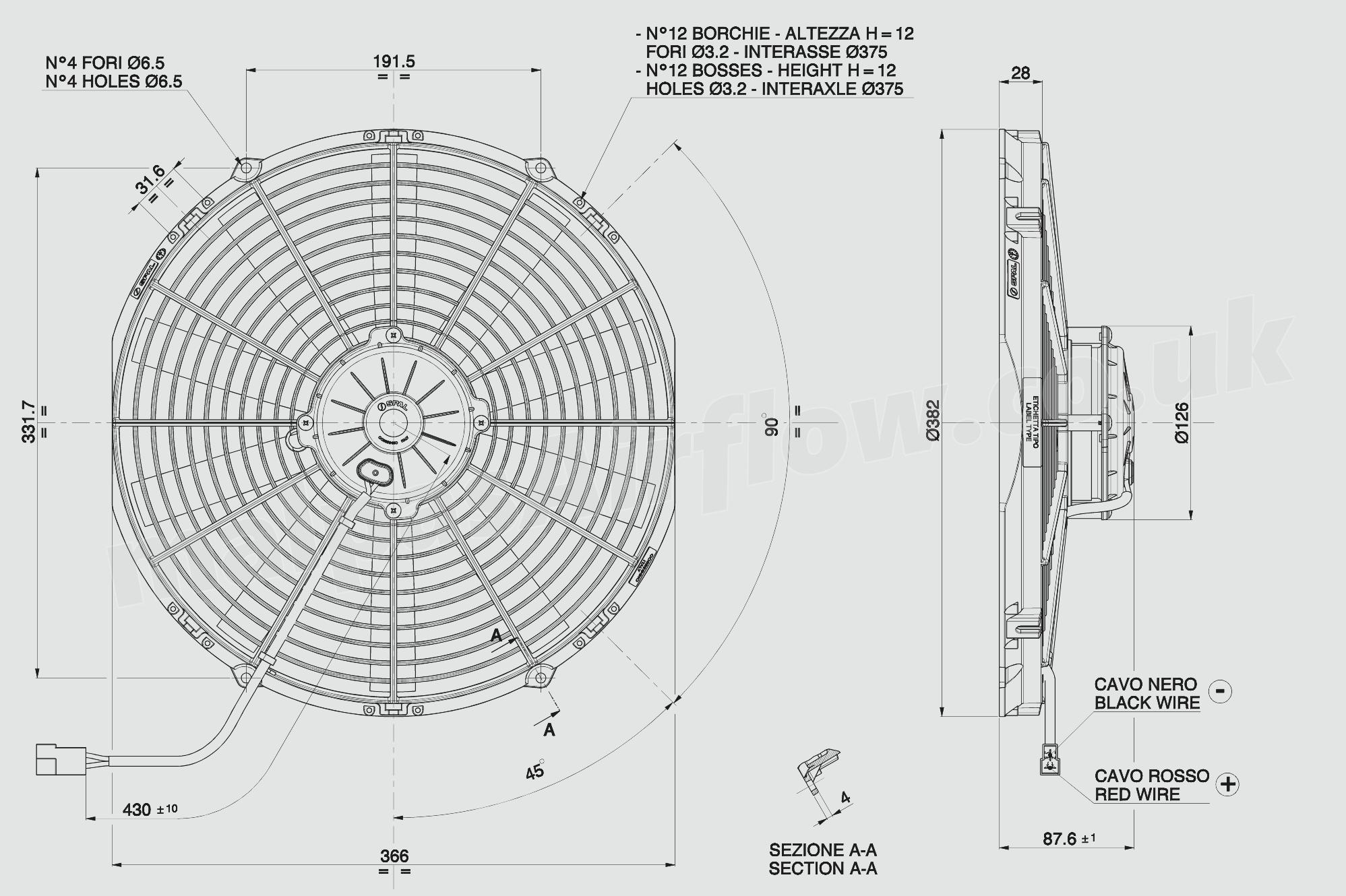 30102571 spal 14 u0026quot   350mm  cooling fan va08 ll  1522 cfm    pulling