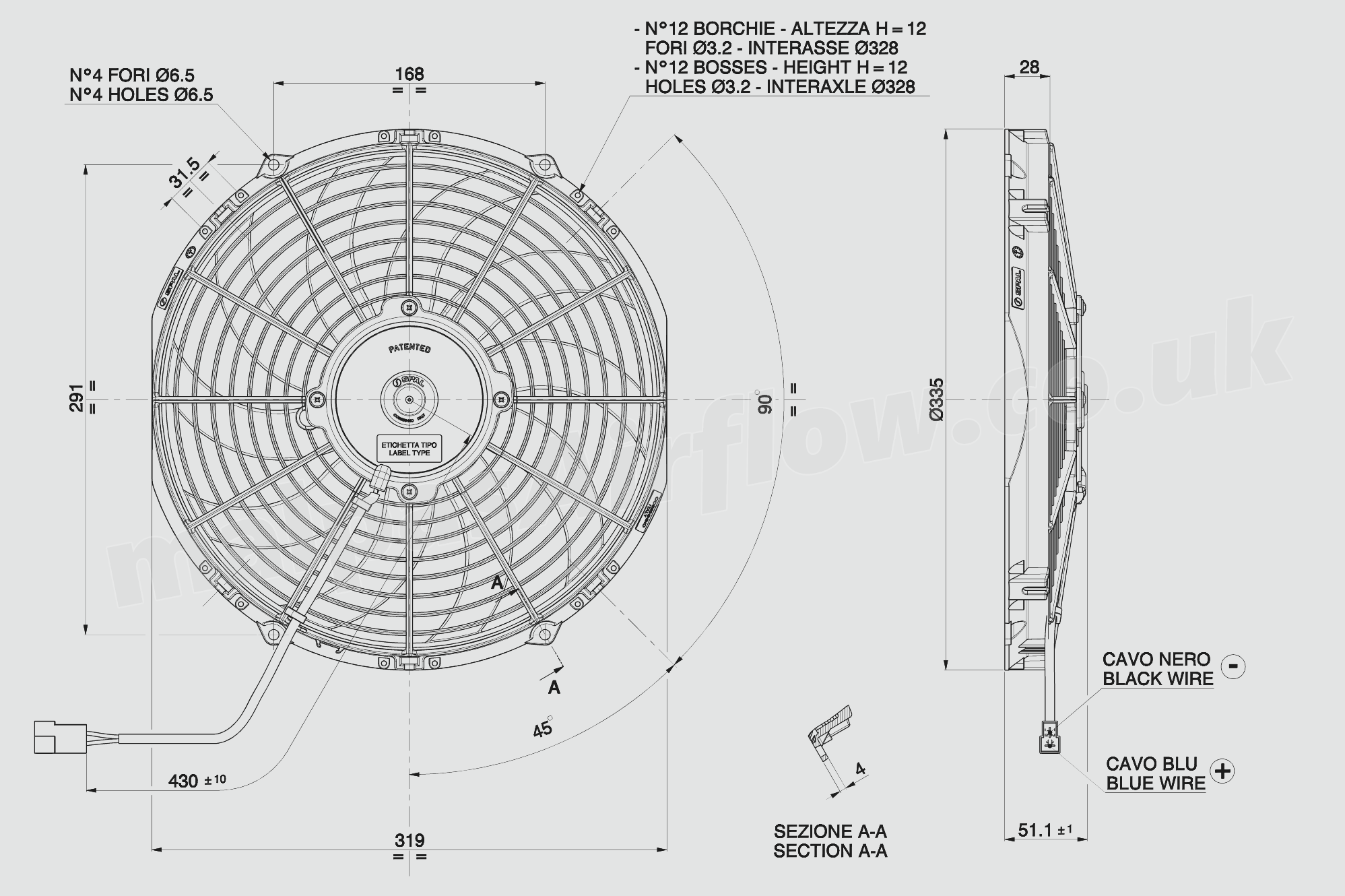 30105021 Spal 12 305mm Cooling Fan Va10 Ap10 Ll I 61a
