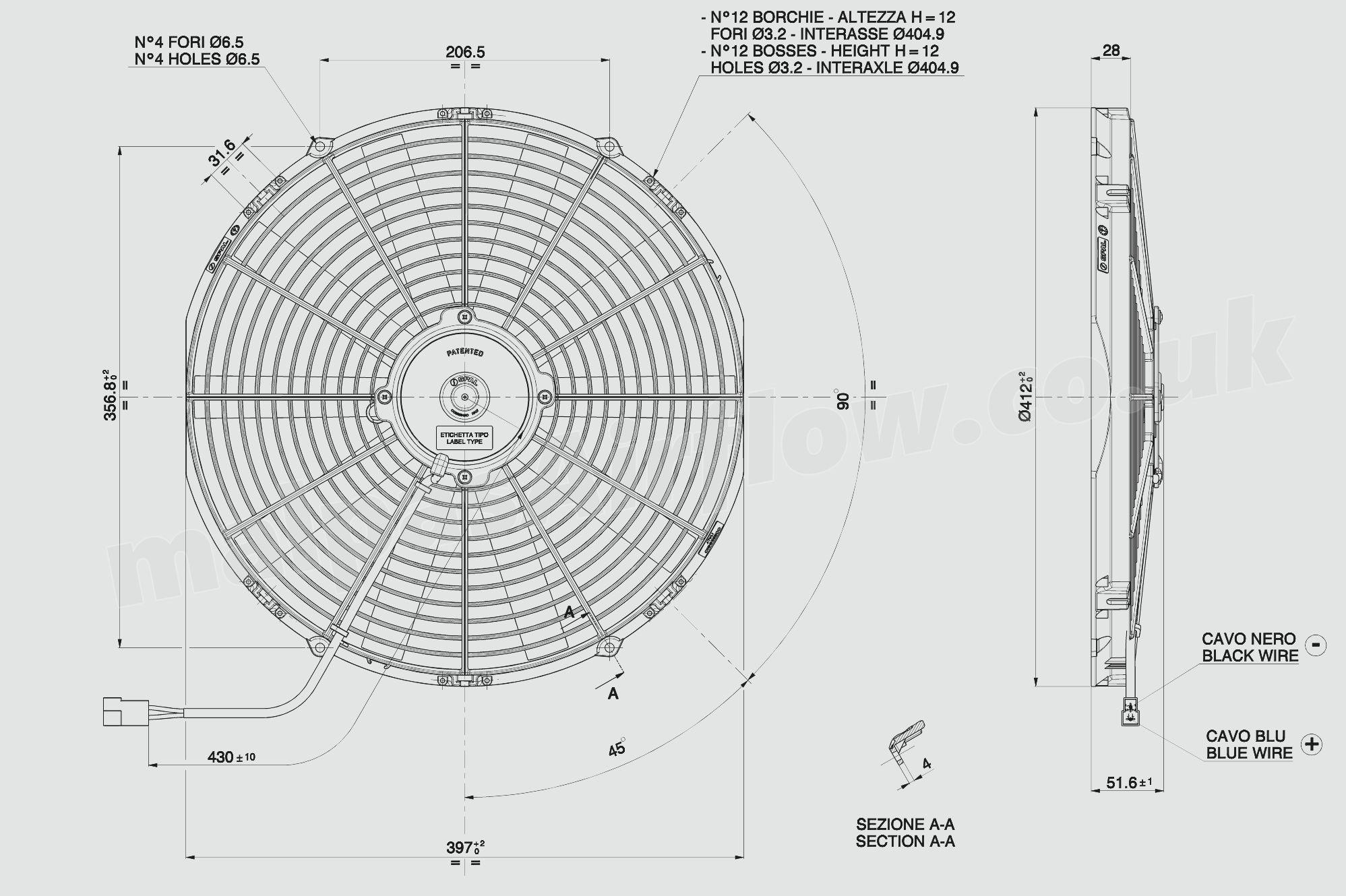 30100400a Spal 16 407mm Cooling Fan Va18 Ap10 C 41a 12v 1074 10 Wiring Diagram Fans Dimensions Of
