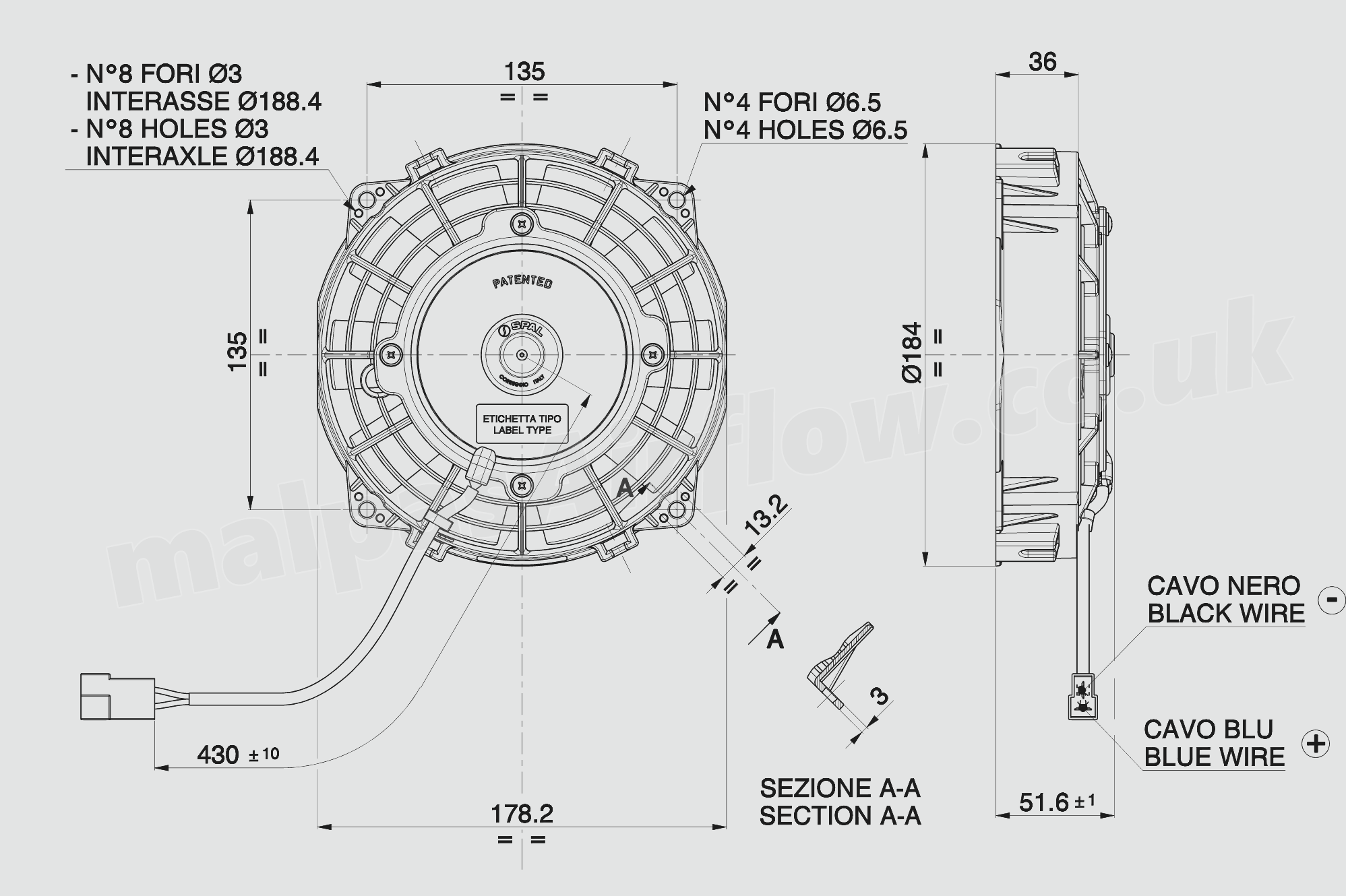 30100402a Spal 65 167mm Cooling Fan Va22 Ap11 C 50a 12v 313 Wiring Diagram Single Dimensions Of