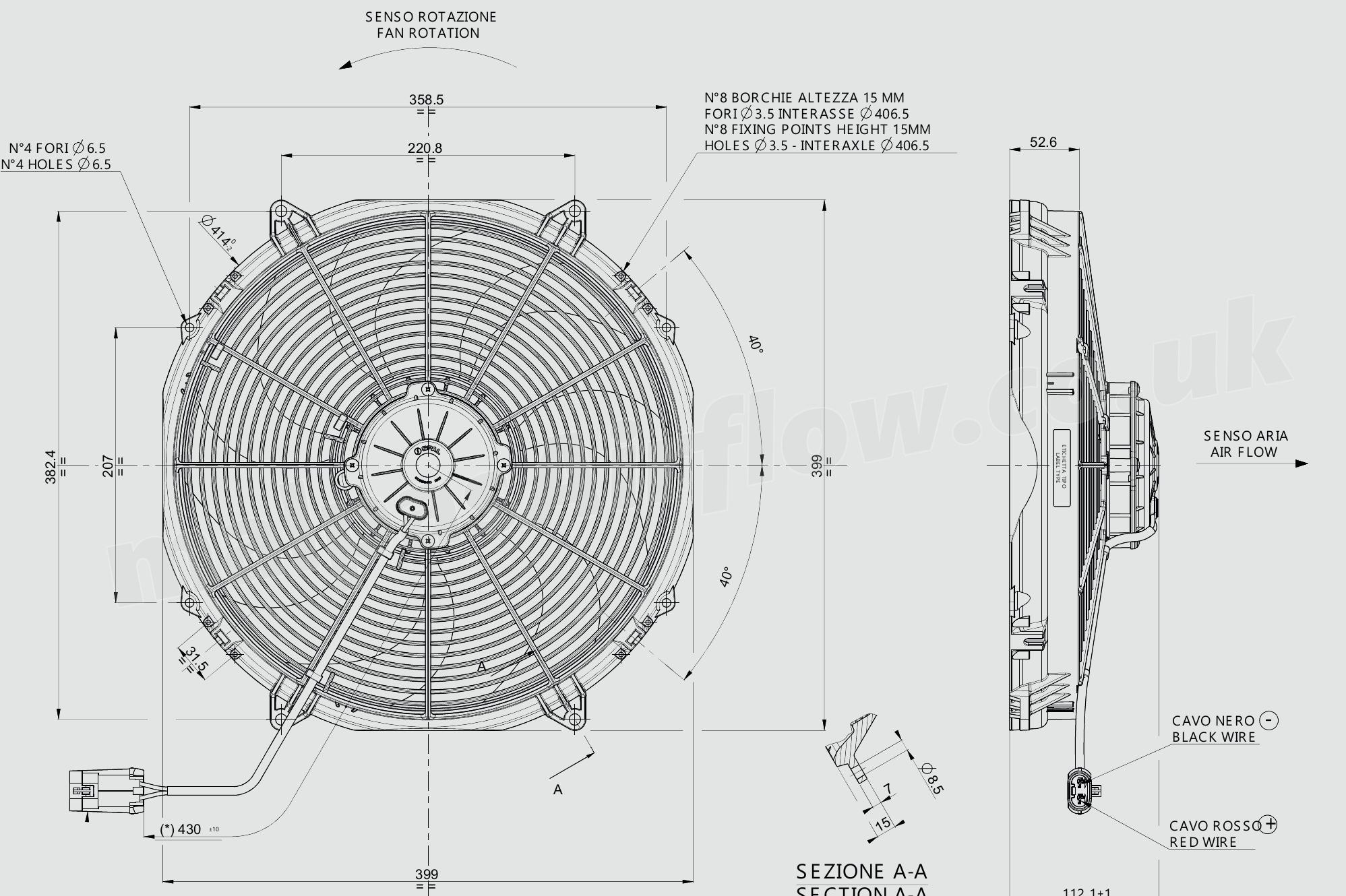 30102803a spal 16 u0026quot   407mm  cooling fan va33 ll  2016 cfm    pulling
