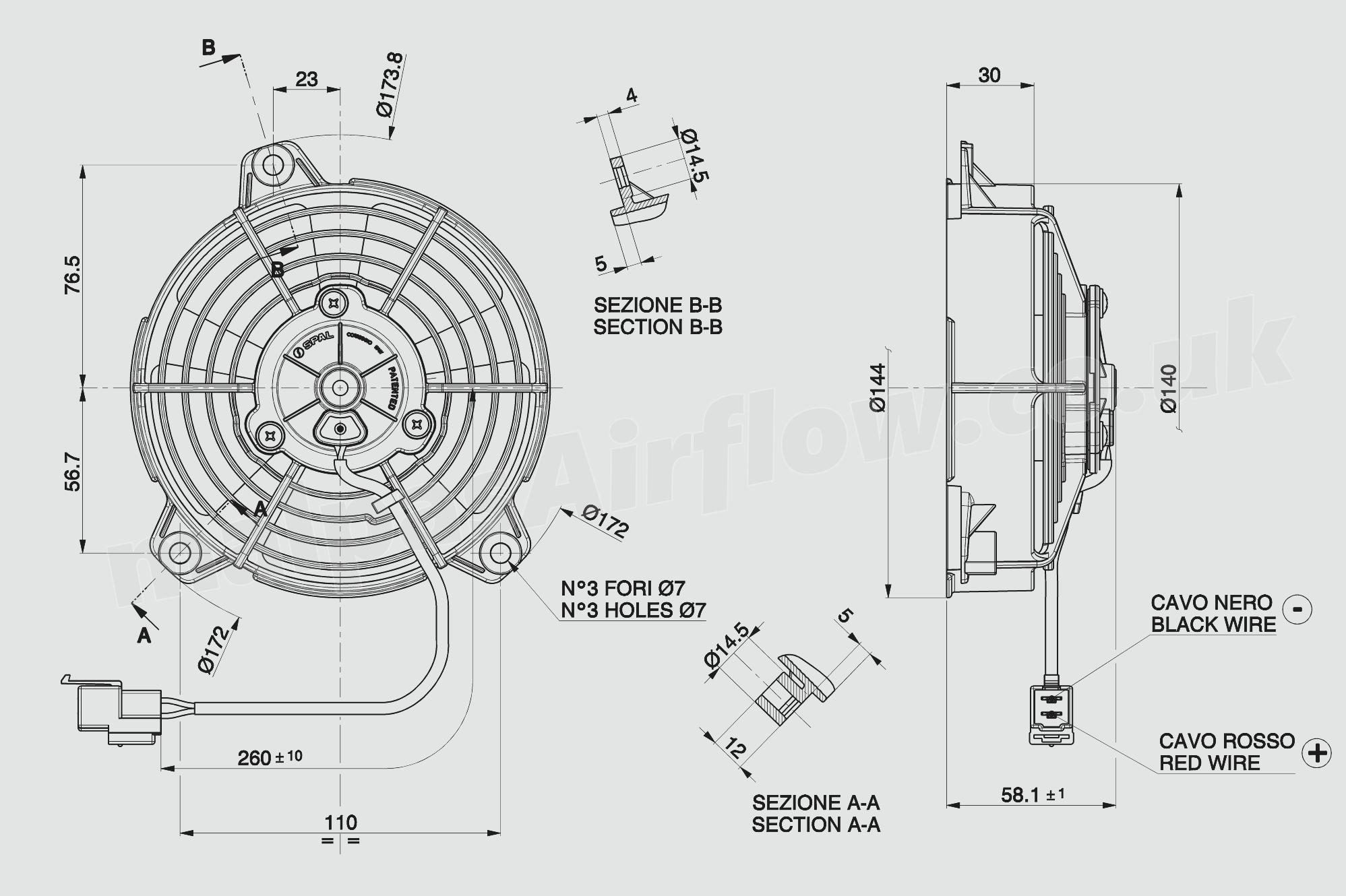 30103021 Spal 52 130mm Cooling Fan Va37 A101 46s 12v 260 Cfm 106 Wiring Diagram Fans Dimensions Of