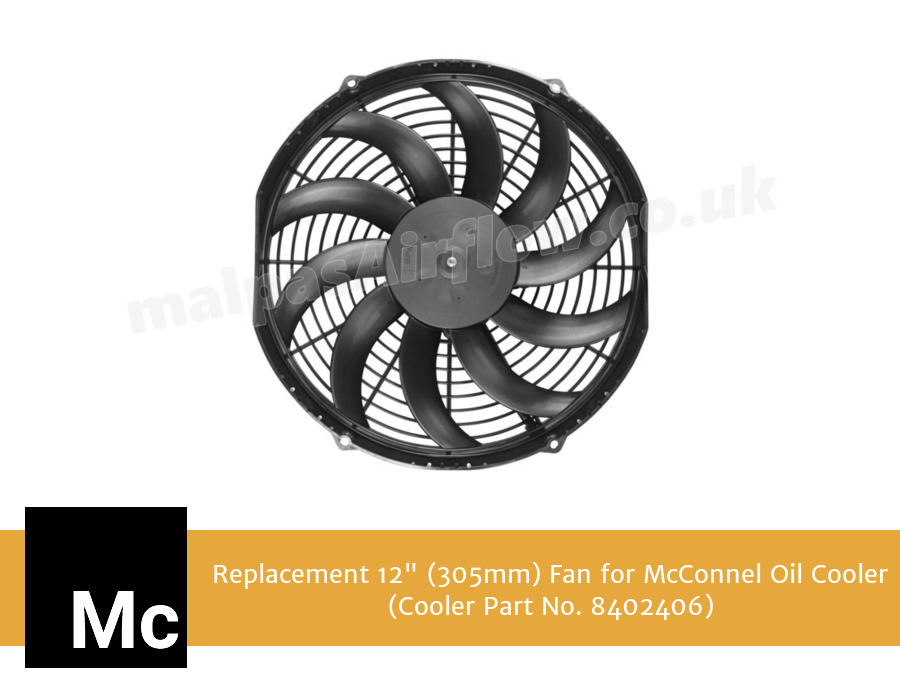 "Replacement 12"" (305mm) Fan for McConnel Oil Cooler (Fan:8402386 in Cooler Part No. 8402406)"