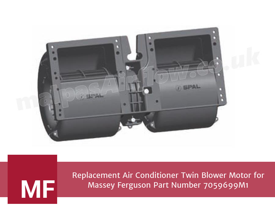 Replacement Air Conditioner Twin Blower Motor for Massey Ferguson Part Number 7059699M1 (Single Speed)