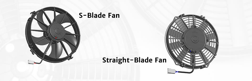Examples of SPAL straight and s-bladed fans